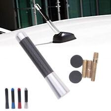 "3"" Universal Car Silver Carbon Black Fiber Screw Radio Short Antenna Aerial"