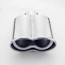 "2.25"" Inlet dual oval shape Rolled Resonated Stainless Steel Exhaust tip"
