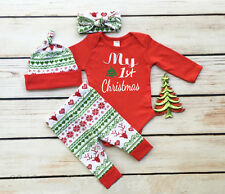 USA Newborn Baby Girls First Christmas Clothes Romper +Pants Hat Outfits 0-3M 06