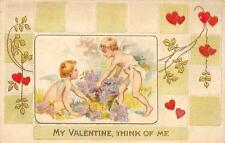 MY VALENTINE THINK OF ME ELLSWORTH MAINE EMBOSSED HOLIDAY POSTCARD 1913