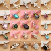 Fashion 925 Silver Plated Women Crystal Zircon Pendant Necklace Chain Jewelry