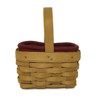 "Longaberger SNQ 2001 One Handle Woven Wood Basket W/ Red Liner 5.5""W VTG Wooden"