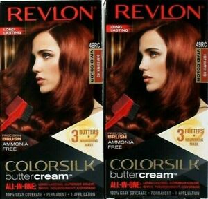 (Pack of 2) Revlon Colorsilk Buttercream Vivid Hair Color 49RC Deep Copper Red