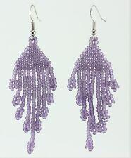 Handmade Toho Glass Seed Beads Trans-Frosted Sugar Plum Beaded Earrings