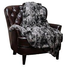 Chanasya Super Soft Fuzzy Fur Warm Charcol Gray Sherpa Throw Blanket Charcoal