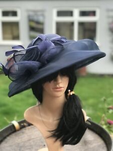 PETER BETTLEY FRENCH NAVY WEDDING HAT MOTHER OF THE BRIDE FORMAL OCCASION RACES