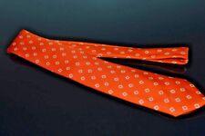 SUMMER BEN SILVER Hand Made Heavy Twill TANGERINE Neat Diamond Motif Silk Tie