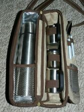Ascot Leather Travel Coffee / Beverage Tote Set w/ Stainless Thermos Picnic