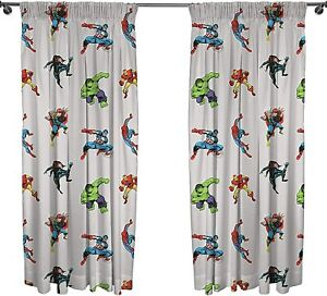 """MARVEL AVENGERS GREY 66"""" x 72"""" READY MADE PENCIL PLEAT CURTAINS"""