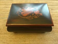 """Vintage Floral Instrument Lacquer Music Jewelry Box """"Isle of Capri"""" Made Italy"""