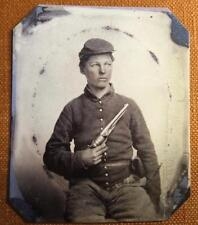 Civil War Union Soldier With Colt Army Model 1860 Revolver RP tintype C1165RP