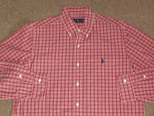 Polo Ralph Lauren Mens Red & White Pony Button Down Front Dress Shirt M medium