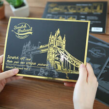 4pcs Postcards Version Scratches Night View The World Famous Scenic Spot ukstock