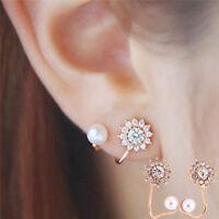 1Pair Pearl Rhinestone Ear Stud Earrings Crystal Ear Clip Jewelry Lady Fashion
