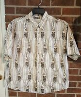 Crossings Hawaiian Floral Camp Women & Surf Boards Brown Cruise Shirt Size XL