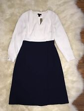 New! $350 J.crew Collection 2-in-1 Dress Size 4 Style E3185 Ivory Navy SOLD OUT!