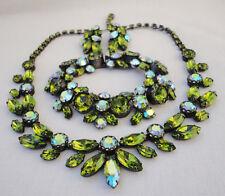 Regency Shades of Green Rhinestone Parure Necklace Bracelet Earrings C1950s