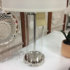 RALPH LAUREN PAYTON SILVER CLEAR GLASS CYLINDER TABLE LAMP  ~New~