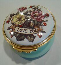 Kingsley Enamels.I Love You. Worcestershire England.Hinged Trinket Box