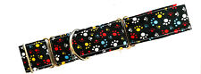 "1.5"" Martingale Dog Collar PAW PRINTS ON BLACK Greyhound Lurcher 15""-22"" LARGE"