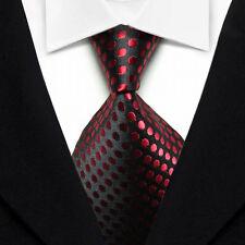 NT0010 Black Red Dot 100% New Silk WOVEN JACQUARD Men's Tie Necktie