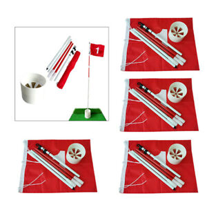 4Sets Folding Golf Flag Stick Garden Cup Hole Pin Driving Course Range Flags