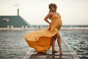 Mustard Strapless Jersey Maternity Dress Gown - Photography Photo Shoot Pregnant