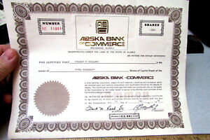 Stock Certificate Anchorage Alaska Bank of Commerce 1981 for 200 shares expired