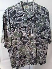 Tommy Bahama 100% Silk Hawaiian Camp Black Shirt Fern Design Large EUC