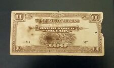 #4 Malaya Japanese Occupation JIM One Hundred Dollars $100 banknote Prefix MT F