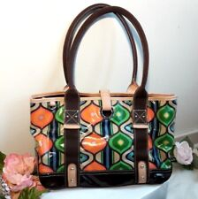 deea85ae598d Franco Sarto Handbag Tote Beautiful Multi-color Peacock Print Coated Canvas  Bag