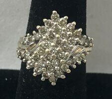 2.00 TCW Natural Diamond Cluster 10K Yellow Gold Ring Size 8.5