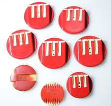 Vintage Art Deco Bakelite Buttons Modernism Hand Carved Couture 1930 Nr. Mint