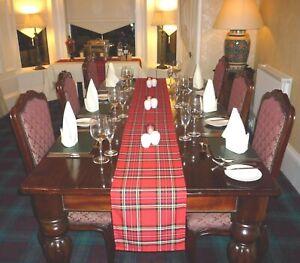 SCOTTISH TARTAN  TABLE RUNNER. 4, 6 & 12 ft (122, 182 & 365 cm) Made in Scotland