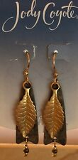 Jody Coyote Earrings JC1024 New QM133-01 gold leaf brown dangle Made USA