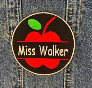 PERSONALISED TEACHER APPLE CIRCLE NAME IRON ON TWILL EMBROIDERED PATCH THANK YOU