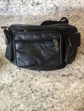 Vintage Tinder Black Leather Fanny Pack Waist Hip Festival Bag Boho Patchwork