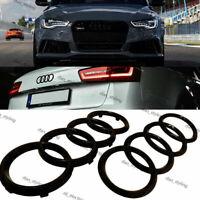 Schwarz Set Ringe Vordere Hintere Abzeichen Logo Emblem Audi A5 A6 A7