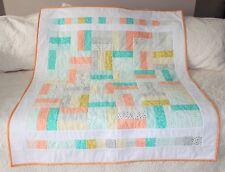 "Savannah Green Orange Gold Gray Fence Rail Handmade Quilt 44"" w x 52-1/2"" h"