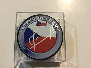 Martin Havlat Signed Team Czech Republic Hockey Puck Autographed b