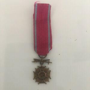 POLAND.Period Miniature Cross of Merit with swords (Krzyż Zasługi z Mieczami)