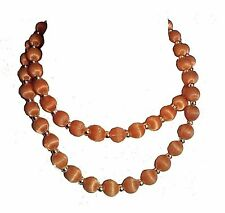 "Necklace brown beads 30"" long gold colored spacer beads vintage"