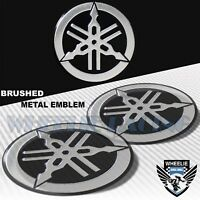 "X2 BRUSHED ALUMINUM 2.125"" YAMAHA METAL BADGE LOGO EMBLEM FENDER STICKER DECAL"