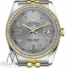 Men's Rolex 36mm Datejust 2 Tone Slate Grey Color Dial with 8+2 Diamond Accent
