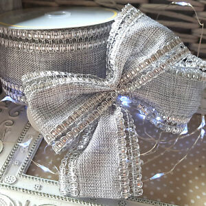 Luxury Wired Grey Christmas Ribbon Hessian With Silver Stitched Edge Xmas Tree