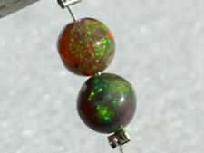 Natural Black Ethiopian Welo Opal Flashing Fire Round Ball Matching Pair Beads