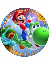 "SUPER MARIO - DESIGN 3 PERSONALIZED 7.5"" CIRCLE ICING CAKE TOPPER"