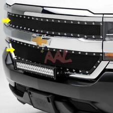AAL 2016 2017 Chevy Silverado 1500 Black Mesh Rivet Stud Upper Grille