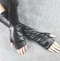New Fashion Women's Long Black Fingerless Leather Opera Gloves*40cm-60cm