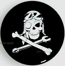 "SPARE TIRE COVER 12"" - 14"" w/ Mechanic Pirate Skull for Popup Camper cs1214smp"